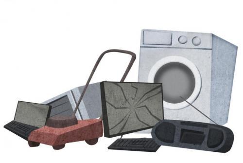 Na sliki so narisani nekateri elektronski odpadki: kosilnica, pralni stroj, radio, tipkovnica, mikrovalovka, ekran, prenosnik.