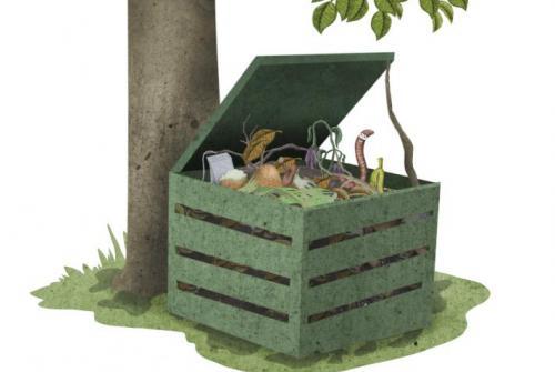 Na sliki je kompostnik pod drevesom.