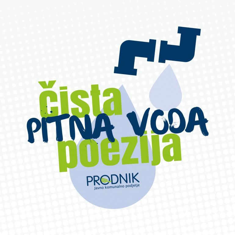 Slika prikazuje logotip poezija vode - pipo, iz katere prihajata kapljici vode, z napisom Pitna voda - čista poezija.